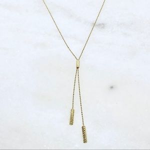 """10k yellow gold beaded lariat necklace 16-18"""""""